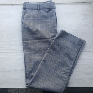 Grey and blue check-plaid pants